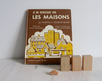 70s French vintage children book Let's find out vintage - Je me renseigne sur les maisons, illustrated by Peter Costanza