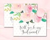 Bridesmaid Card, Will You Be My Bridesmaid Card, Bridesmaid Proposal Card, Will You Be My Card, Printable Bridesmaid Card