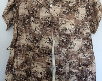 CYBER MONDAY SALE 1950s Brown Floral Dress New With Tags