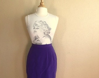 Vintage PURPLE SILK Skirt / Joan Leslie Wiggle Skirt  / Womens Small Medium