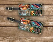 Personalized Luggage Tags Fishing Tackle Box Lures Fish Luggage Tags - Full Metal Tags Luggage Tag Set Personalized Fathers Day