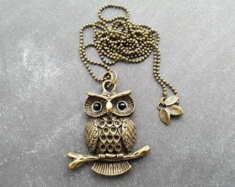 Night Owl Long Necklace Pendant