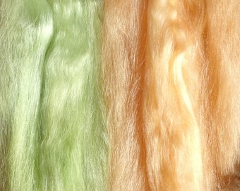 Combed Suri Alpaca Doll Hair 11-12 inches long 1/2 of an ounce Sage Green and Peach