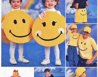 McCalls 2387 SMILEY FACE Happy Face (Kids & Adults) Costume Sewing Pattern Beanbag Backpack Pillow Boxers Shirt Baseball Cap UNCUT