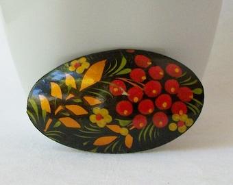 Vintage Black painted Flower Brooch