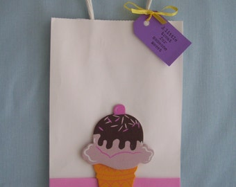 Ice cream party, Party favor bags, ice cream bags, loot bags,Thank you favors, birthday bags