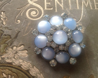 Vintage JUDY LEE Blue Moonstone Lt Blue Crystal Rhinestone Brooch Signed Mad Men