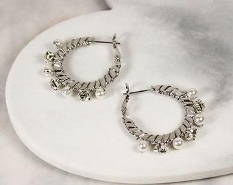 Zanita Earrings, Boho Hoop Earrings, Bridal Earrings, Bohemian Wedding Earrings, Pearl Earrings, Silver Hoop Earrings, Wedding Jewelry Gift