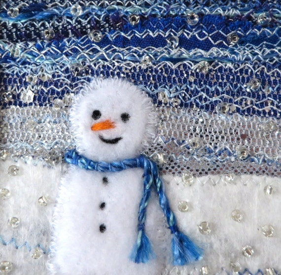Snowman card - 5 inch square fabric art card - beaded embroidered card - winter landscape - handmade greeting card - stitched Christmas card