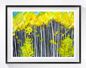 Forest Art Watercolor art print Tree painting landscape Dark woods painting Wilderness nature painting yellow painting Countryside
