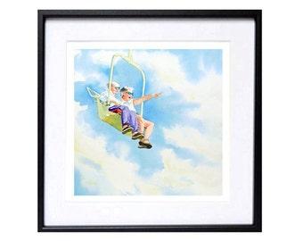 Romantic art print,  Romantic painting art print, Cute couple art print, Sky painting, Flying painting, watercolor print, people in love