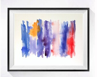 Original Watercolor Abstract Painting / Modern artwork / Color feild blue purple orange red / colorful mod art /  Home Wall decor 15 x 20