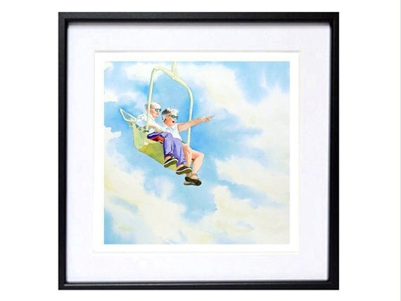 Romantic Artwork Cute couple people in love Wedding gift Couples love art print Skyscape painting watercolor print flying painting Fine Art