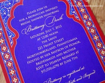 Moroccan / Arabian Invitation **CUSTOMIZE COLORS** Printable - Wedding - Party - Birthday