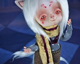 EXTRA SALE!! - Nanao  - art doll, yokai, ghost, Kitsune, Japanese mythology, folklore, sculpture, creature, spirit, fox white fox inari