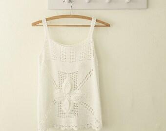 vintage white crochet top sleeveless tank