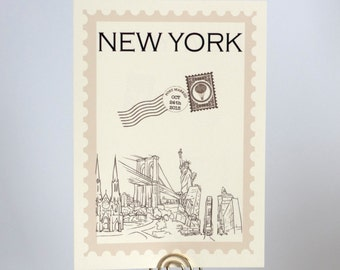 Postage Stamp Travel Theme Table Number Cards Around the World
