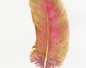 Watercolour feather painting ~ pink and green  fantasy feather