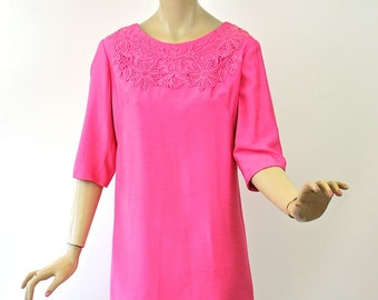 Vintage 60s Party Dinner Dress Fuchsia Pink Sangtung w Cotton Lace w Rhinestones Bust 36 Mini Dress
