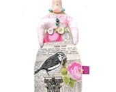 Small Whimsical Handmade Cloth Art Doll With A Bird On Top Of Her Head Wearing A Fun Bird Appliqued Skirt