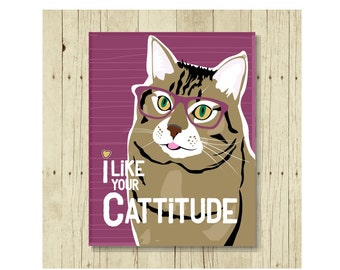 I Like Your Cattitude Magnet, Cat Gift, Cat Magnet, Cat Art, Kitten Magnet, Cat Lover Gift, Cat Lady Gift, Cat Designs, Cat Decor, Purple