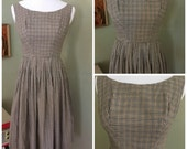 1950s Sweet Black Brown White Gingham Scoop Neck Sleeveless Fit and Flare Sundress- XXS XS