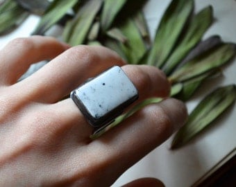 Magic In Marrow White Buffalo Turquoise Silver and Ring
