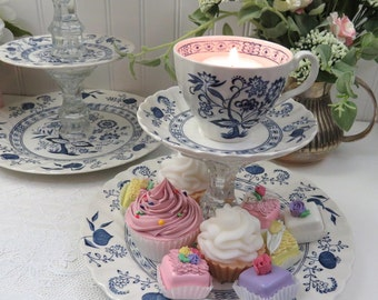 2-Tier Dessert Stand made w Vtg Johnson Bros Flow Blue China, Tea Cup Topper Votive Candle Holder, Blue Onion China, Tea Parties, Weddings