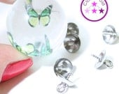 Screw in Bead Caps with Peg for Pendants; Silver Color; 8 mm x 10 mm; Eye Pin