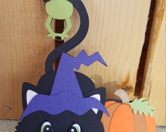 Adorable cat and frog Halloween embellishments for scrapbooking card making altered art mini  books