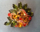 Vintage Bright Multi Colored Green, Reds and Amber Brooch Pin, Juliana Jewelry, D and E Style Brooch Pins, Costume Jewelry, Elegant Broochs