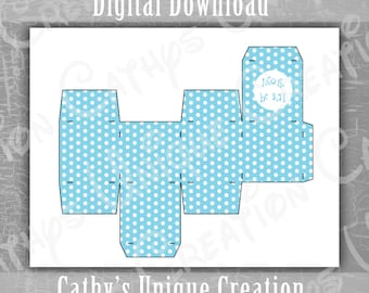 It's A Boy Favor Box, Polka Dot, Baby Shower, Little Man, Gender Reveal, Square Box, Thank You Gift, Printable, Letter, A4, Digital Download