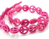 Peace Sign Beads, 15mm, Howlite,  Pink Beads, Peace Symbol, Peace Charms -B192