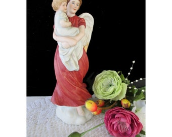 GUARDIAN ANGEL Figurine * Angel Holding Child * Vintage HOMCO