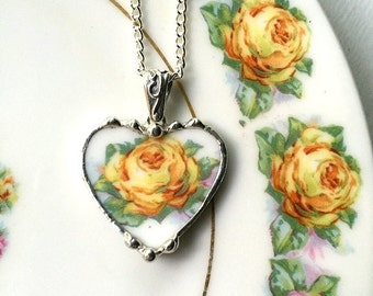 Broken china jewelry heart pendant necklace antique porcelain yellow rose recycled china