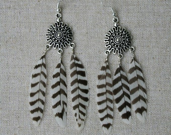 Tribal Aztec Dangle Chandelier black and white Feather Earrings