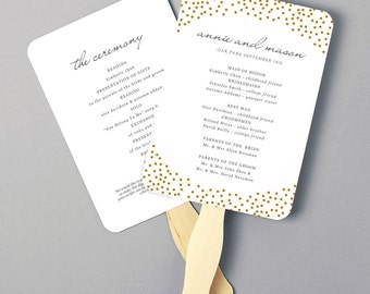 Printable Fan Program, Fan Program Template, Wedding Fan Template, Gold Dots, DIY in Microsoft Word or Apple Pages, INSTANT DOWNLOAD