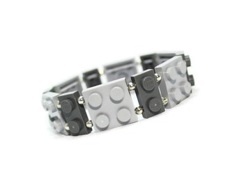 Geeky Bracelet Gray - made from New LEGO (r) Pieces, Grey Bracelet, Gray Bracelet, Stretch Bracelet