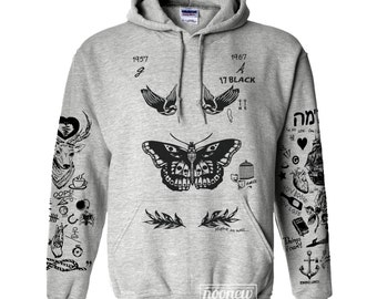 Larry Stylinson Tattoo Hoodies Sweatshirt Women Sweater Jumper Pullover Grey Shirt