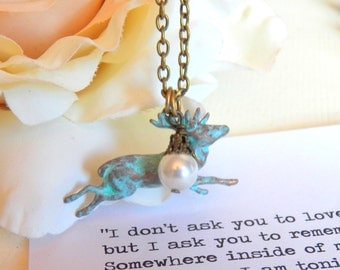 Oh Deer - Necklace, Vintage Style Pendant, Long Necklace, Turquoise Blue Patina, Wire Wrapped Glass White Pearl, Teal Patina Jewelry, Charms