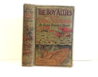 Hollow Book Safe The Boy Allies with the Flying Squadron Cloth Bound vintage Secret Compartment Box Hidden Security Box