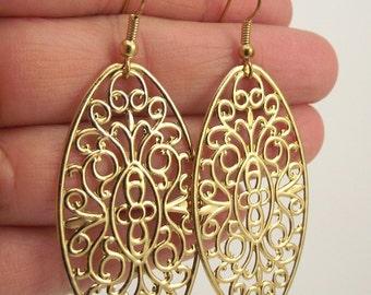 Golden Filigree Oval Earrings, Gold Filigree Earrings