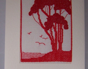 Redwork Trees   ...Completed cross stitch Greetings card,Handmade cross stitch card,