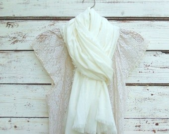Summer Scarf, Cotton Scarf, Lightweight Scarf, Cotton Gauze Scarf, Cream Scarf, Ivory Scarf, Off White Scarf, Infinity Scarf, Long Scarf