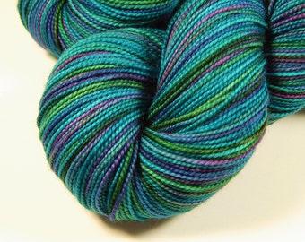 Hand Dyed Sock Yarn - Sock Weight Superwash Merino Wool Yarn - Aegean Multi - Knitting Yarn, Sock Yarn, Turquoise, Indie Hand Dyed Yarn