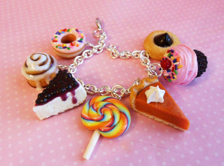 Polymer Clay Sweet Desserts Charm Bracelet Miniature Food