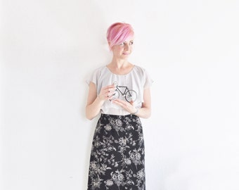high waist botany print maxi skirt . for plant biologists and such as .extra large.xl.plus size