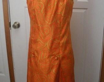 Vintage Shannon Rodgers for Jerry Silverman Mod Orange & Gold Dress