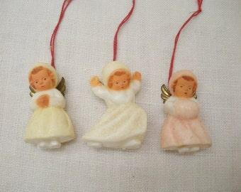 Vintage Tiny Set of 3 Plastic Angel Ornaments