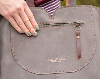 Gray leather tote, soft leather bag, women leather bag
